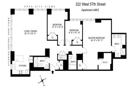 3 Bed at 120 Riverside Blvd Unit 44K2