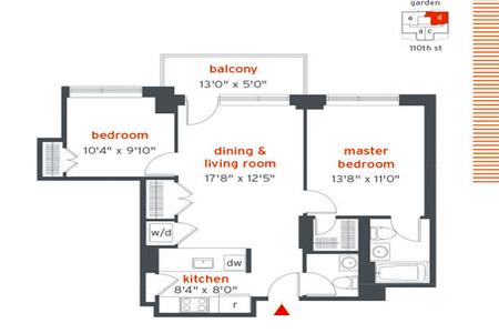 2 Bed at 120 Riverside Blvd Unit PH8D