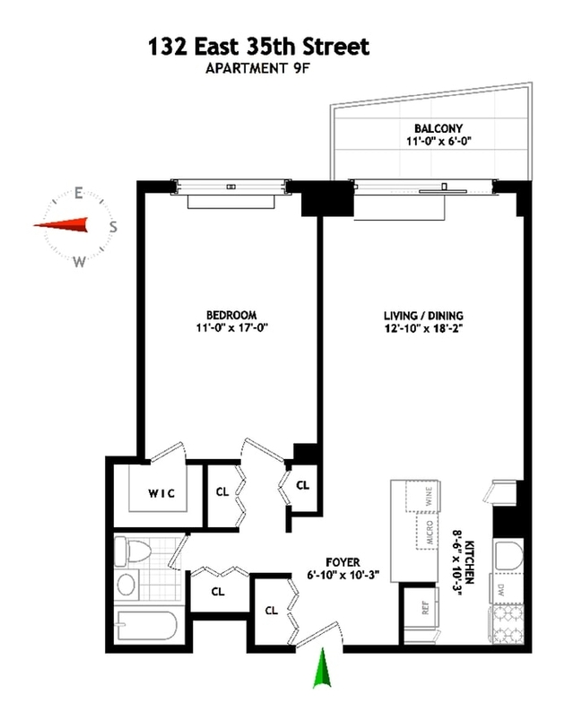 132 East 35th Street Apt 9f 1br 1ba In For Sale