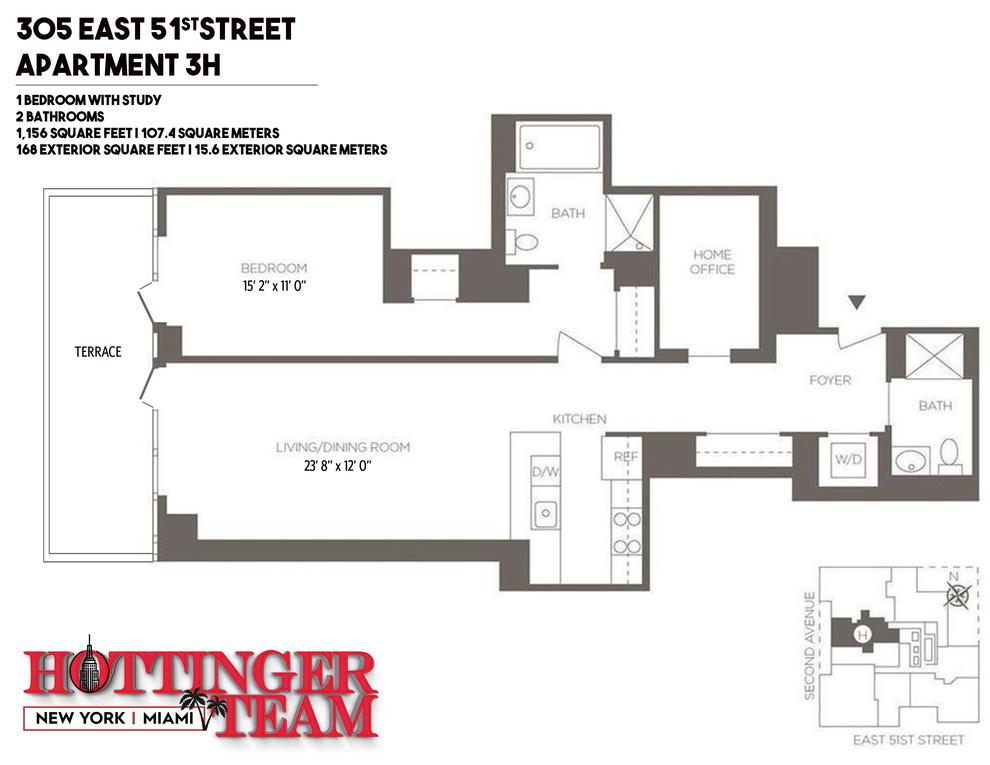 Unit 3H at 305 East 51st Street, New York, NY 10022