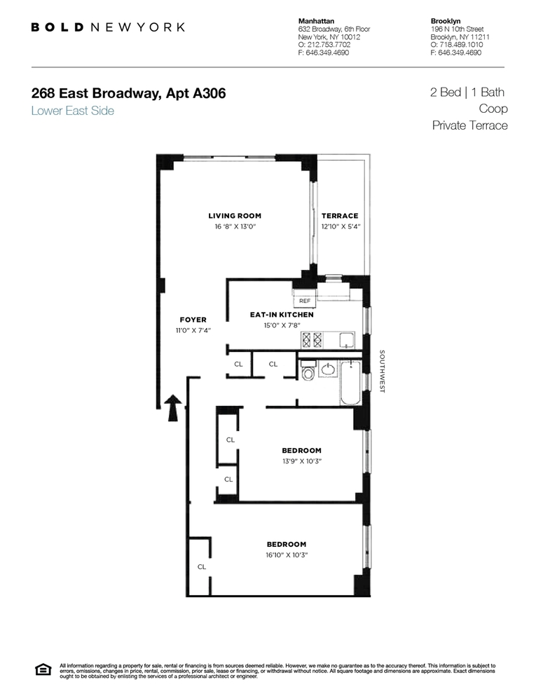 Unit A306 at 268 East Broadway, New York, NY 10002