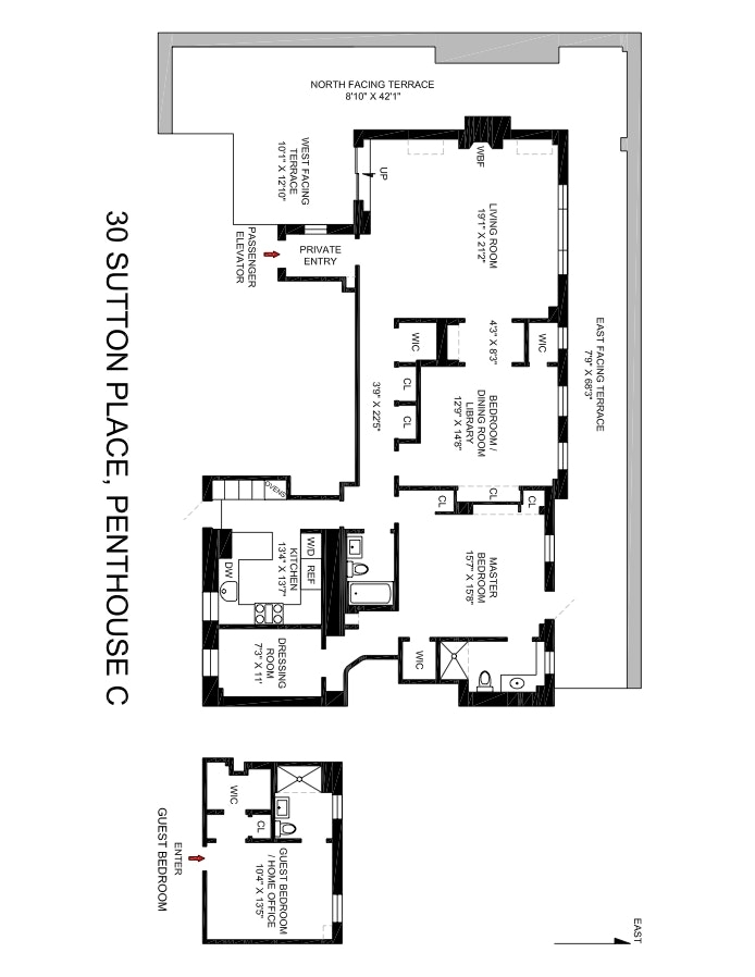 Unit PHC at 30 Sutton Place, New York, NY 10022