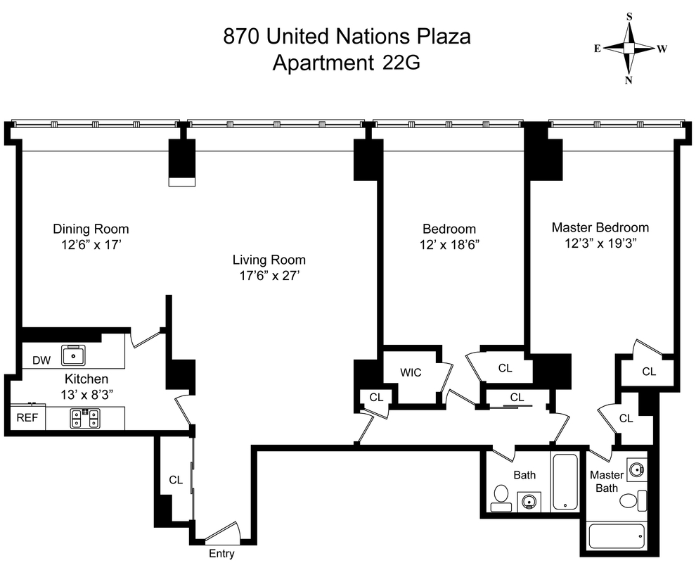 Unit 22G at 870 United Nations Plaza, New York, NY 10017