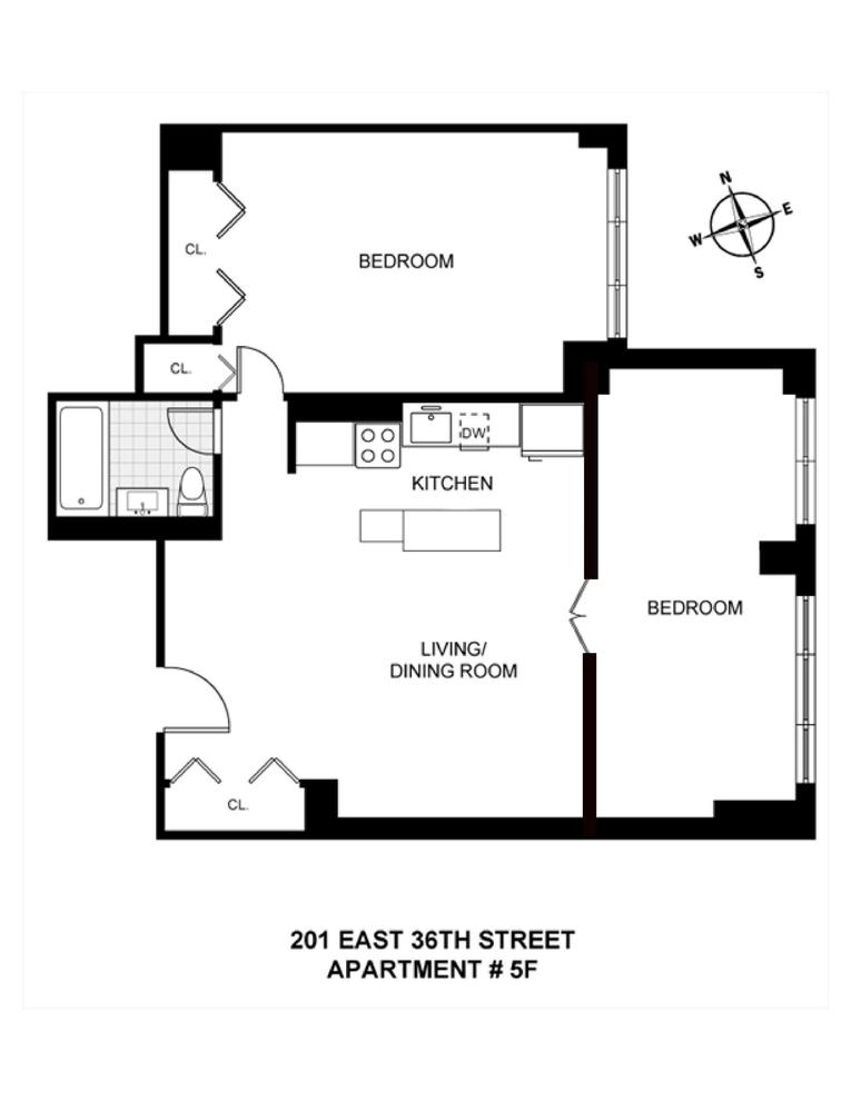 Unit 5F at 201 East 36th Street, New York, NY 10016
