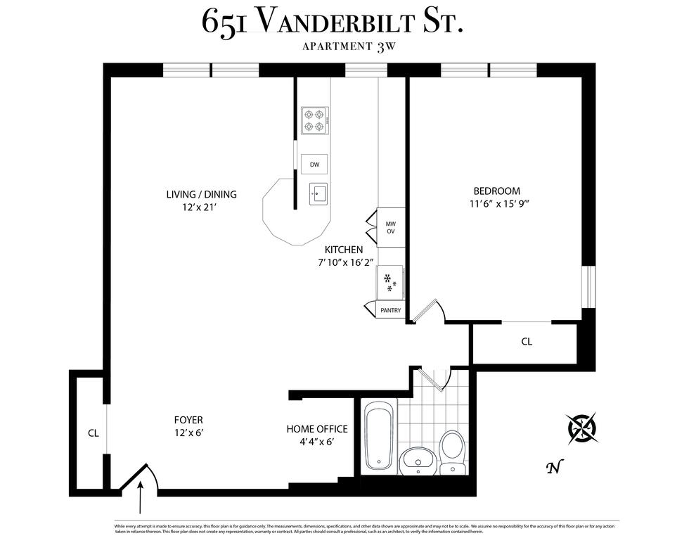 Unit 3W at 651 Vanderbilt Street, Brooklyn, NY 11218
