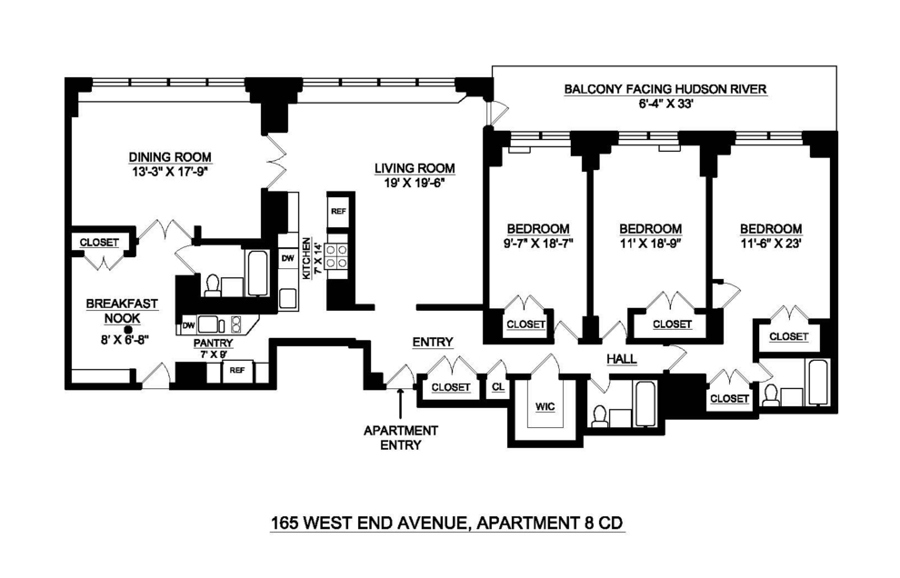 Unit 8CD at 165 West End Avenue, New York, NY 10023