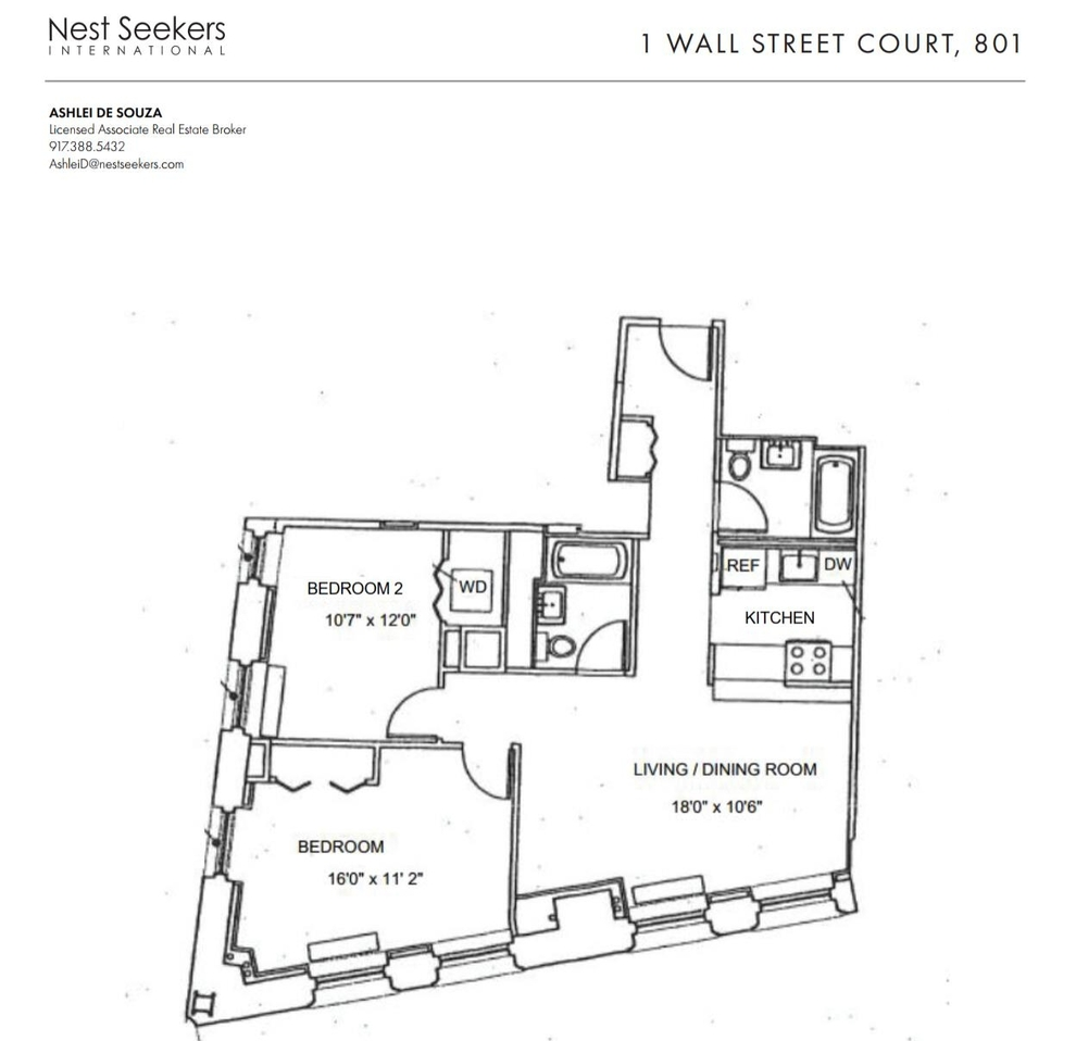 Unit 801 at 1 Wall Street Court, New York, NY 10005