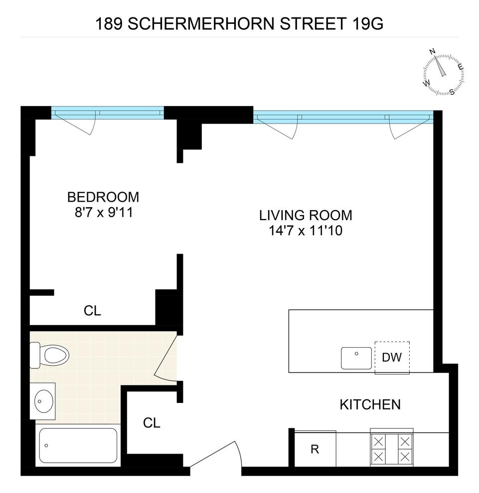 Unit 19G at 189 Schermerhorn Street, Brooklyn, NY 11201