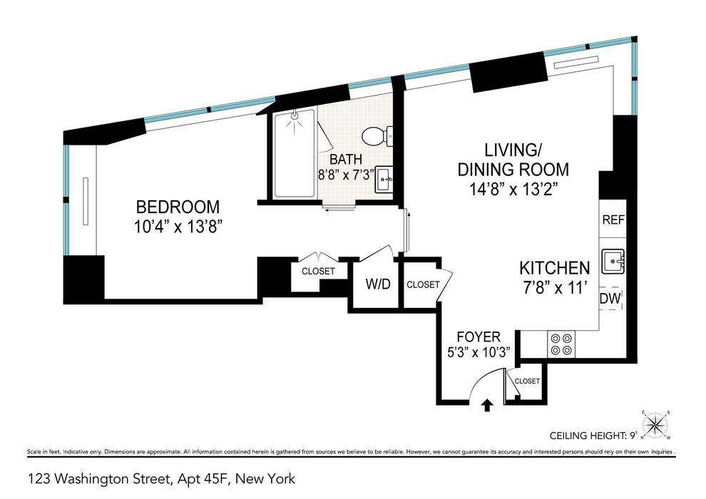 Unit 45F at 123 Washington Street, New York, NY 10006