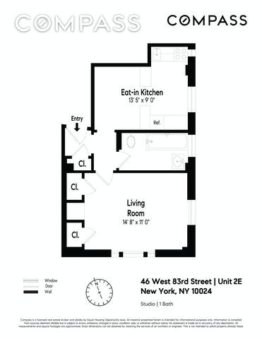 Unit 2E at 46 West 83rd Street, New York, NY 10024