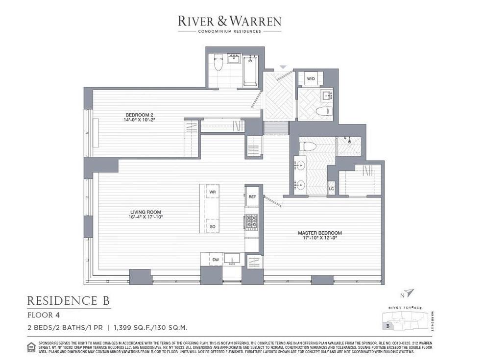 Unit 4B at 212 Warren Street, New York, NY 10282