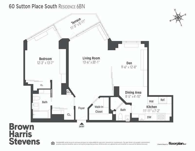 Unit 6BN at 60 Sutton Place South, New York, NY 10022