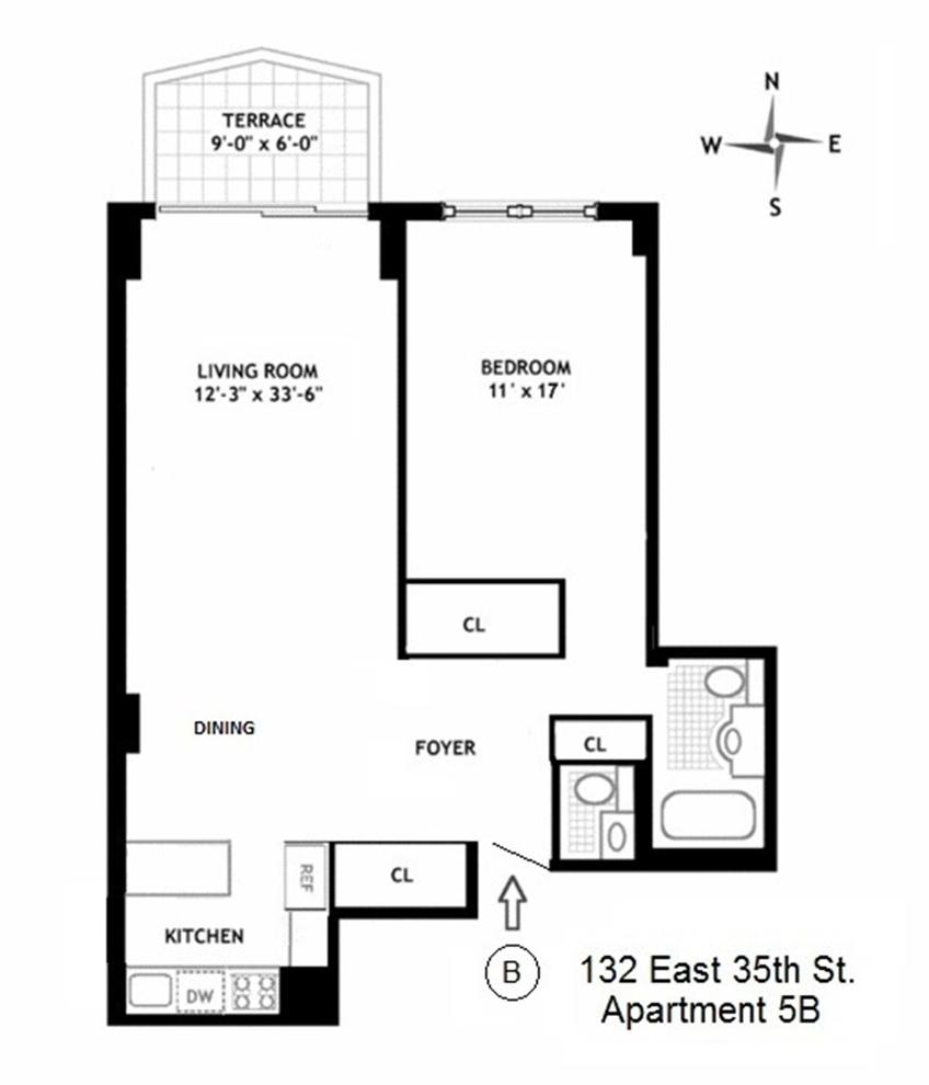 Unit 5B at 132 East 35th Street, New York, NY 10016
