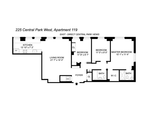 Unit 119 at 225 Central Park West, New York, NY 10024