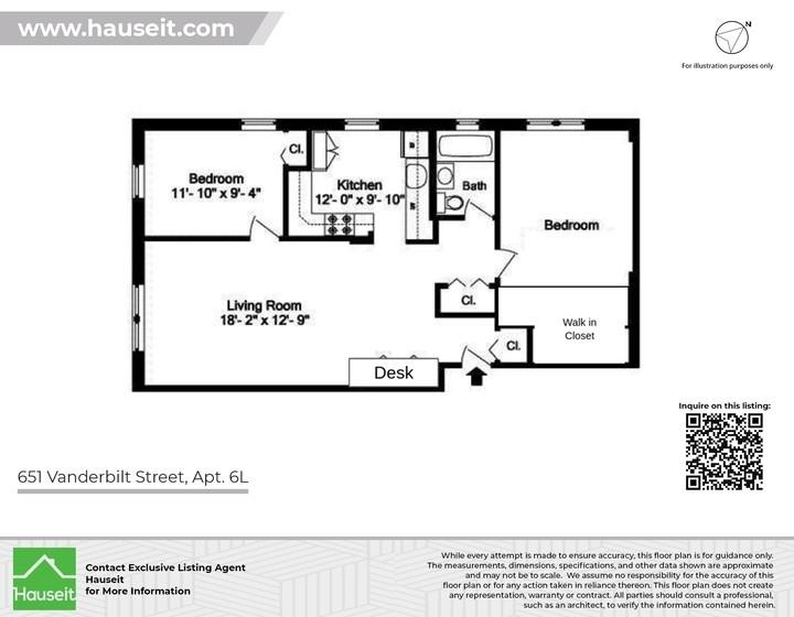 Unit 6L at 651 Vanderbilt Street, Brooklyn, NY 11218