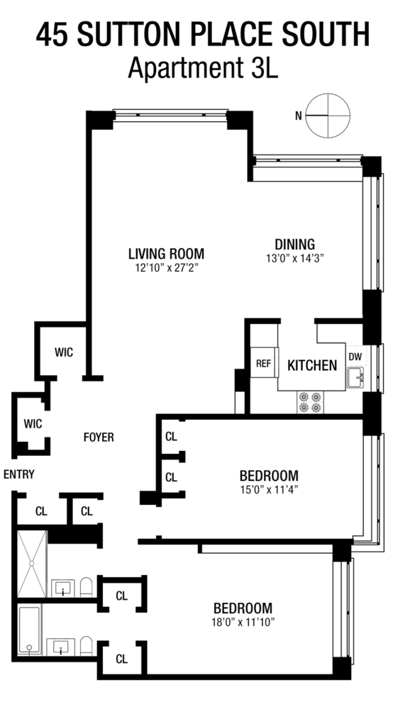 Unit 3L at 45 Sutton Place South, New York, NY 10022