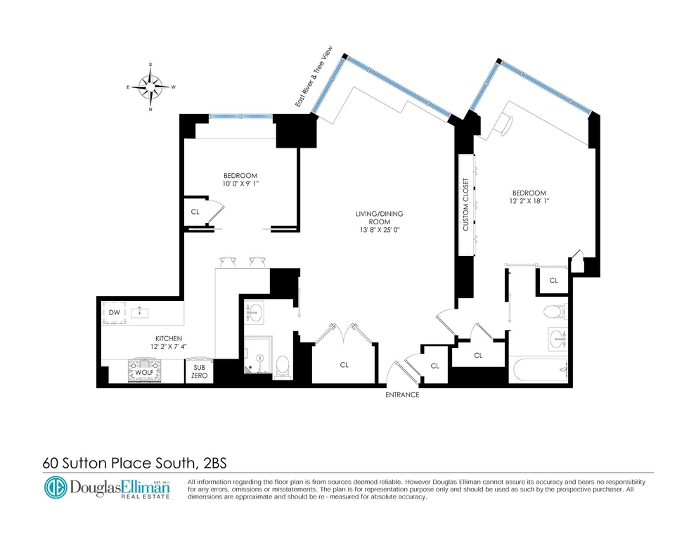Unit 2BS at 60 Sutton Place South, New York, NY 10022