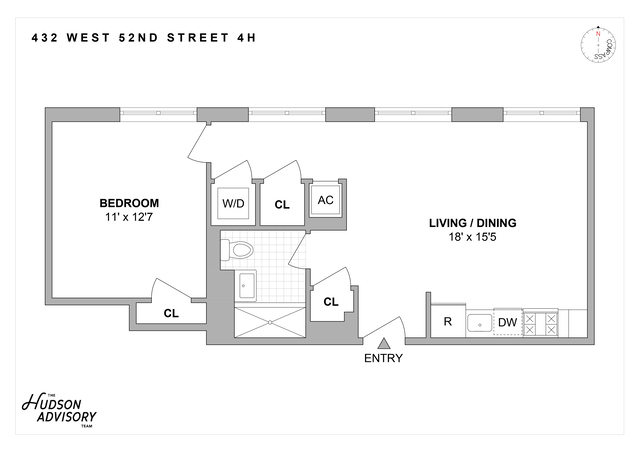 Unit 4H at 432 West 52nd Street, New York, NY 10019