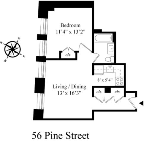 Unit 5F at 56 Pine Street, New York, NY 10005