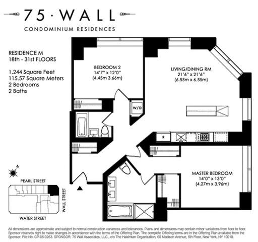 Unit 22M at 75 Wall Street, New York, NY 10005