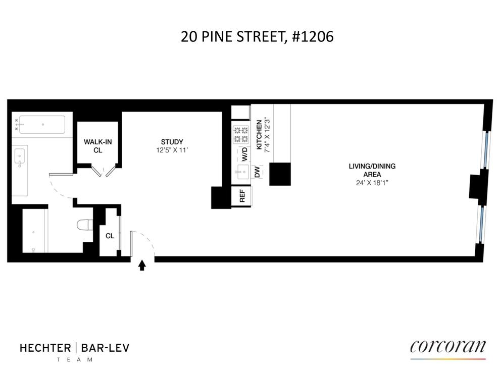 Unit 1206 at 20 Pine Street, New York, NY 10005