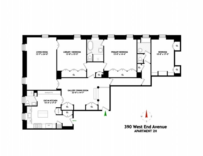 Unit 2H at 390 West End Avenue, New York, NY 10024