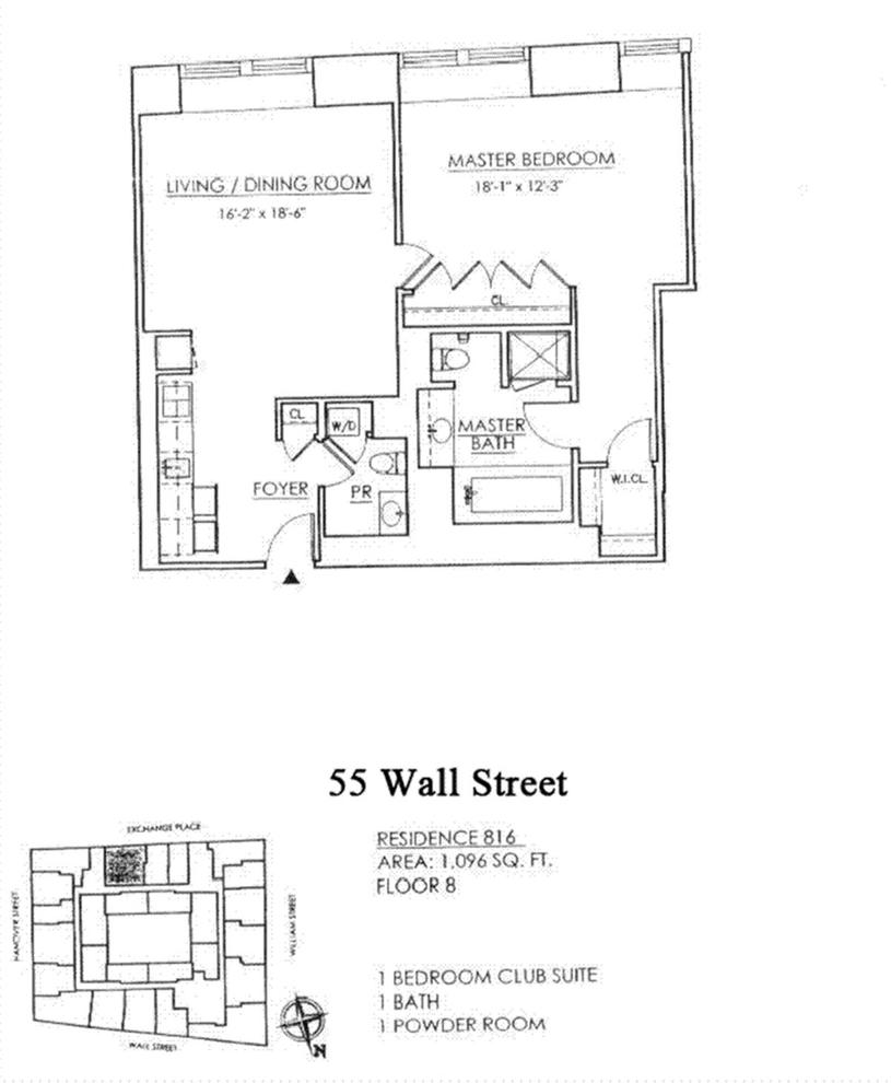 Unit 816 at 55 Wall Street, New York, NY 10005