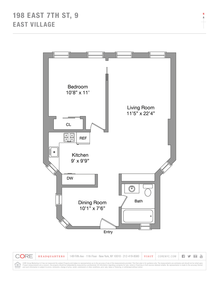 Unit 9 at 198 East 7th Street, New York, NY 10009