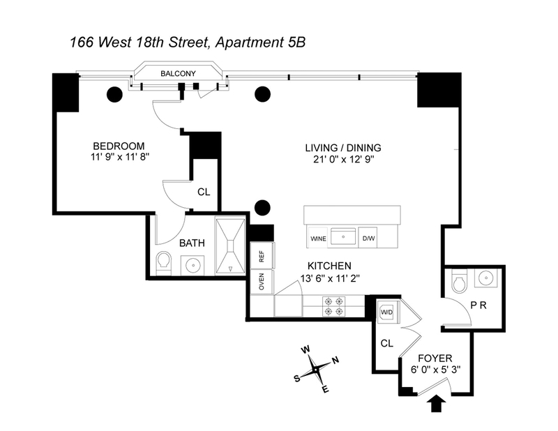 Unit 5B at 166 West 18th Street, New York, NY 10011
