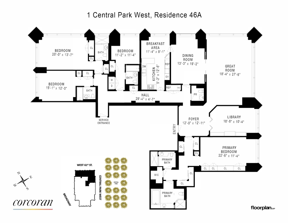 Unit 46A at 1 Central Park West, New York, NY 10023