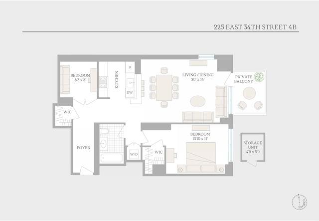 Unit 4B at 225 East 34th Street, New York, NY 10016