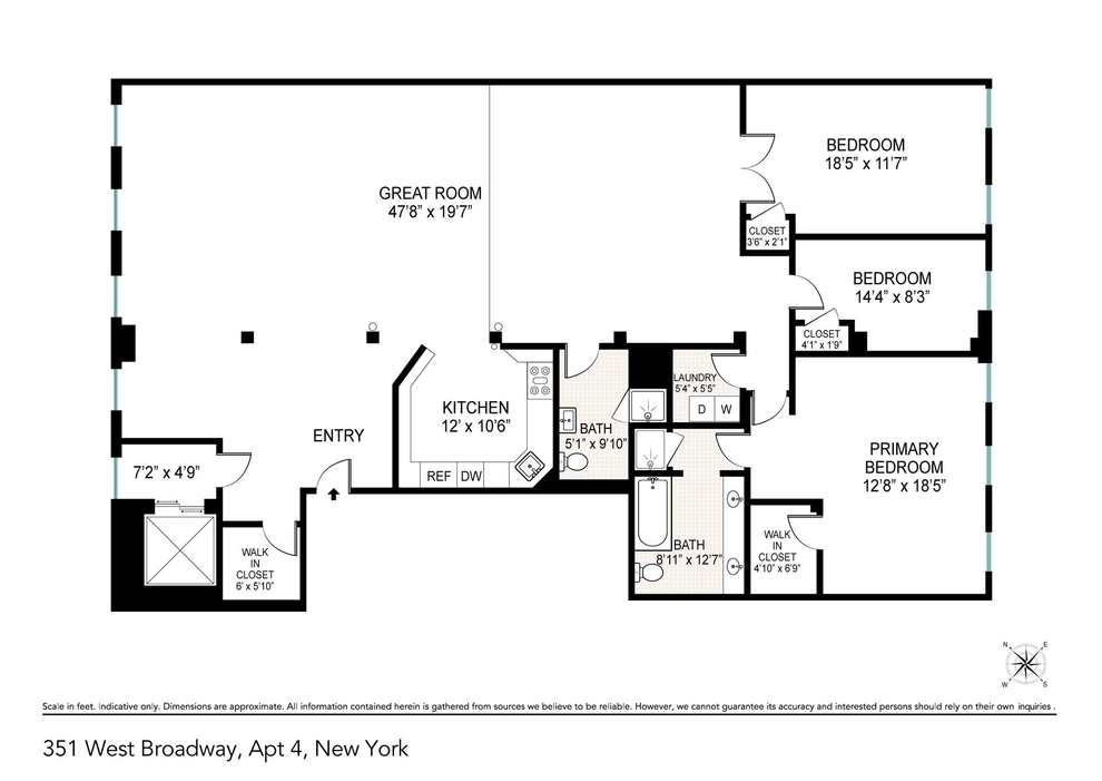 Unit 4 at 351 West Broadway, New York, NY 10013