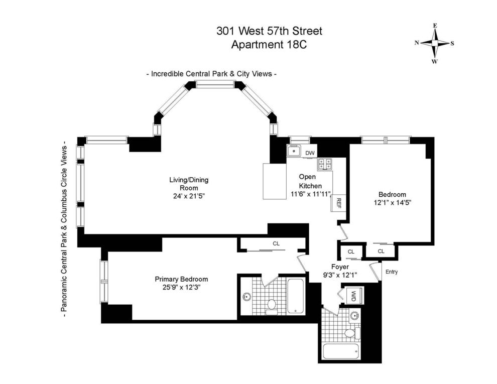 Unit 18C at 301 West 57th Street, New York, NY 10019