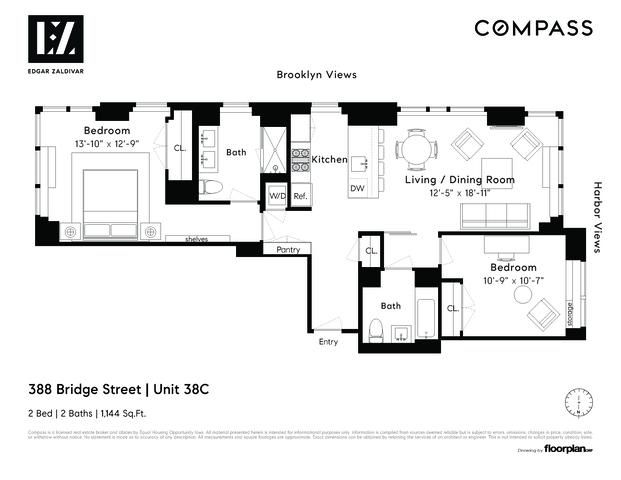 Unit 38C at 388 Bridge Street, Brooklyn, NY 11201