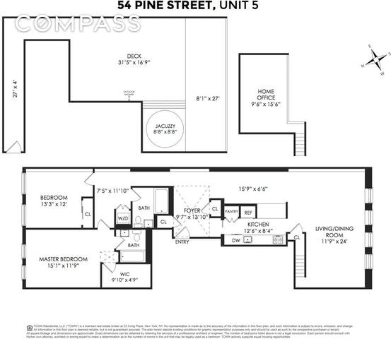 Unit 5FL at 54 Pine Street, New York, NY 10005