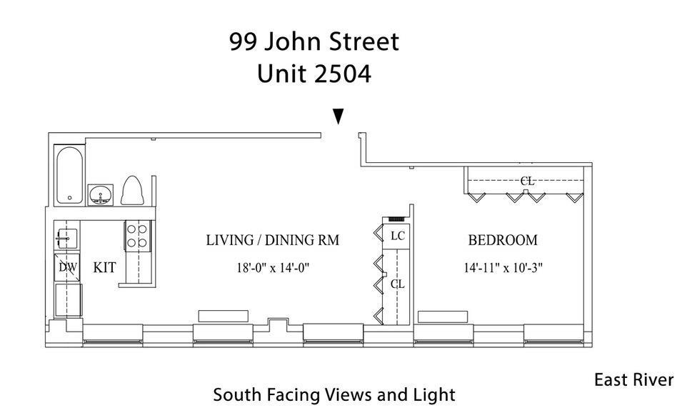 Unit 2504 at 99 John Street, New York, NY 10038