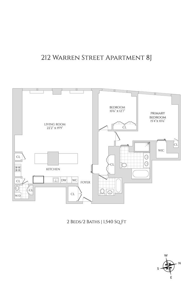 Unit 8J at 212 Warren Street, New York, NY 10282