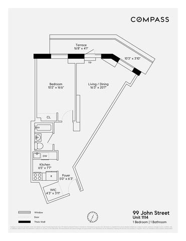 Unit 1114 at 99 John Street, New York, NY 10038