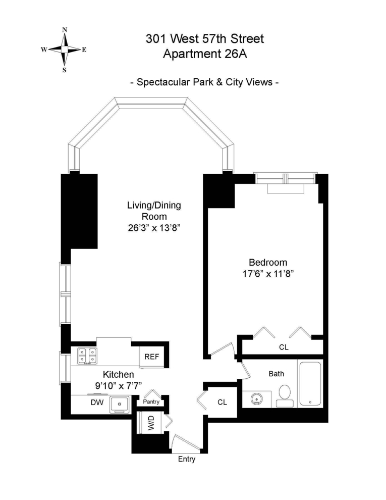 Unit 26A at 301 West 57th Street, New York, NY 10019