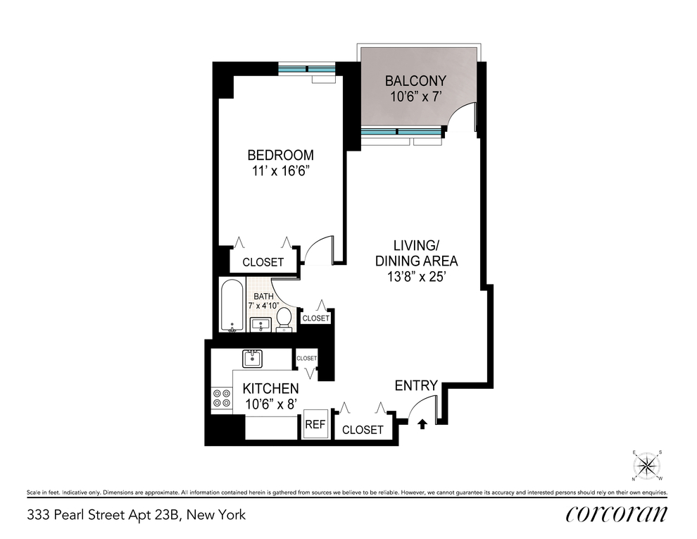 Unit 23B at 333 Pearl Street, New York, NY 10038