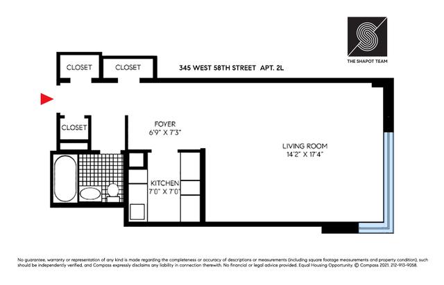 Unit 2L at 345 West 58th Street, New York, NY 10019