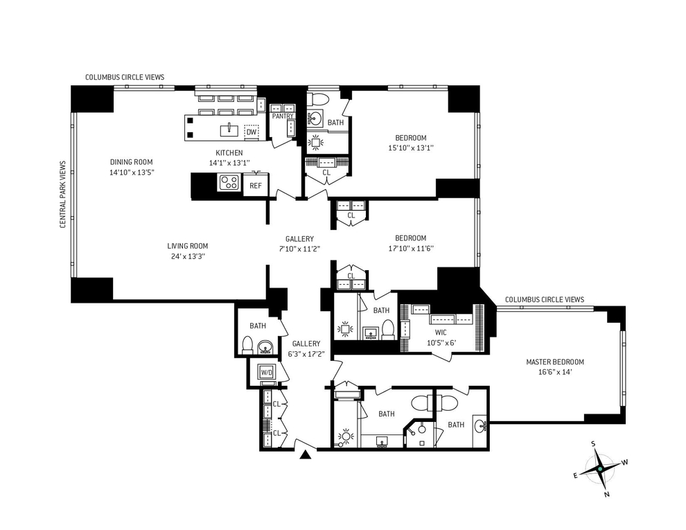 Unit 23D at 1 Central Park West, New York, NY 10023