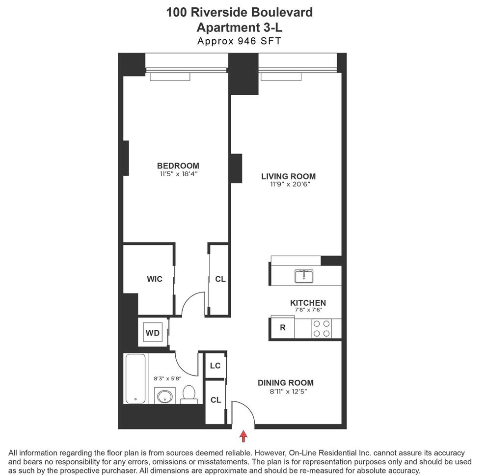 Unit 3L at 100 Riverside Boulevard, New York, NY 10069