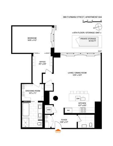 Unit 644 at 360 Furman Street, Brooklyn, NY 11201