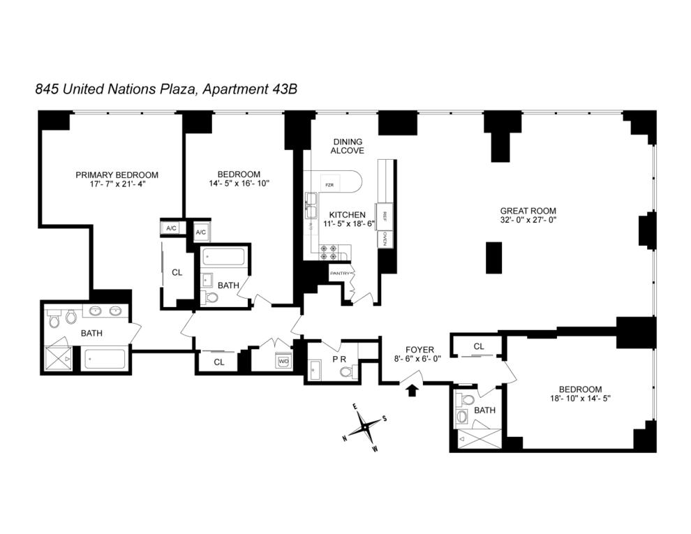 Unit 43B at 845 United Nations Plaza, New York, NY 10017