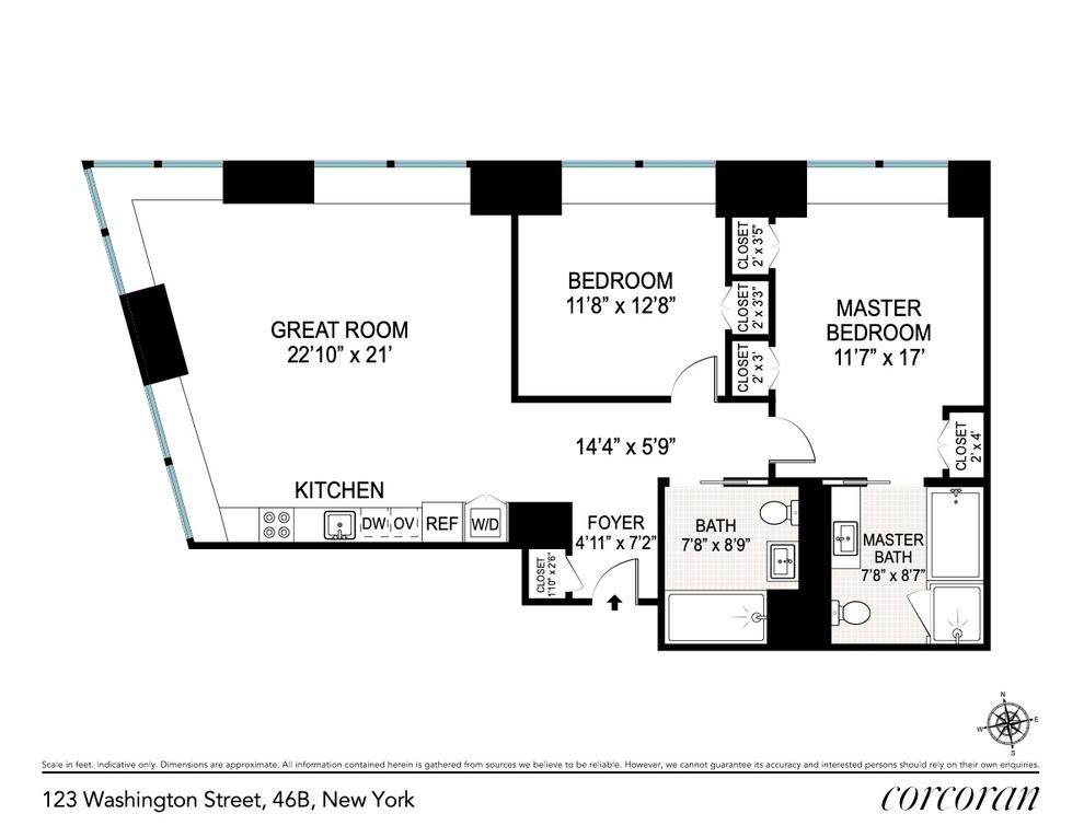 Unit 46B at 123 Washington Street, New York, NY 10006