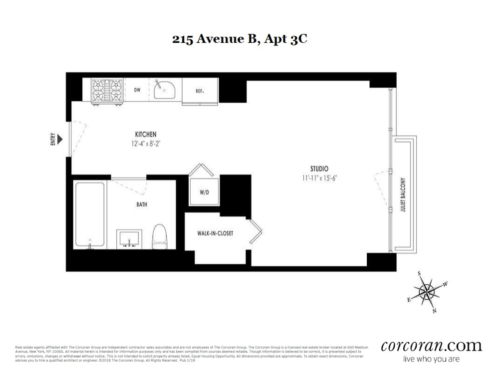 Unit 3C at 215 Avenue B, New York, NY 10009