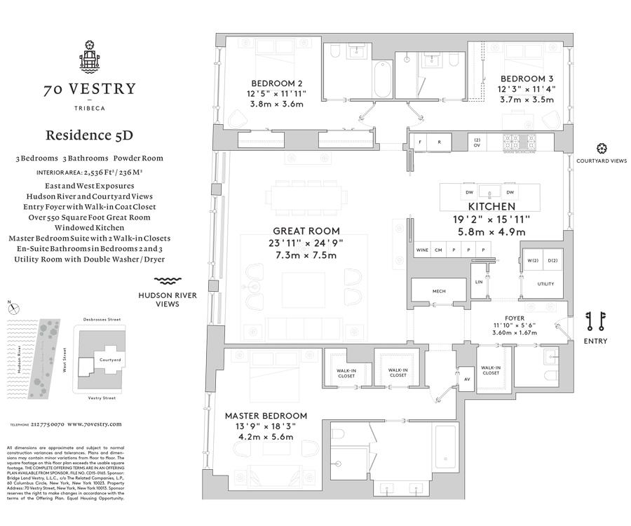 Unit 5D at 70 Vestry Street, New York, NY 10013