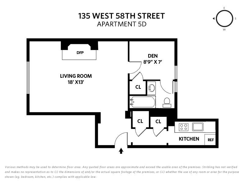 Unit 5D at 135 West 58th Street, New York, NY 10019