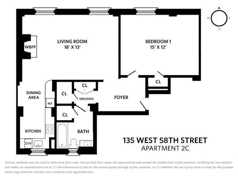 Unit 2C at 135 West 58th Street, New York, NY 10019